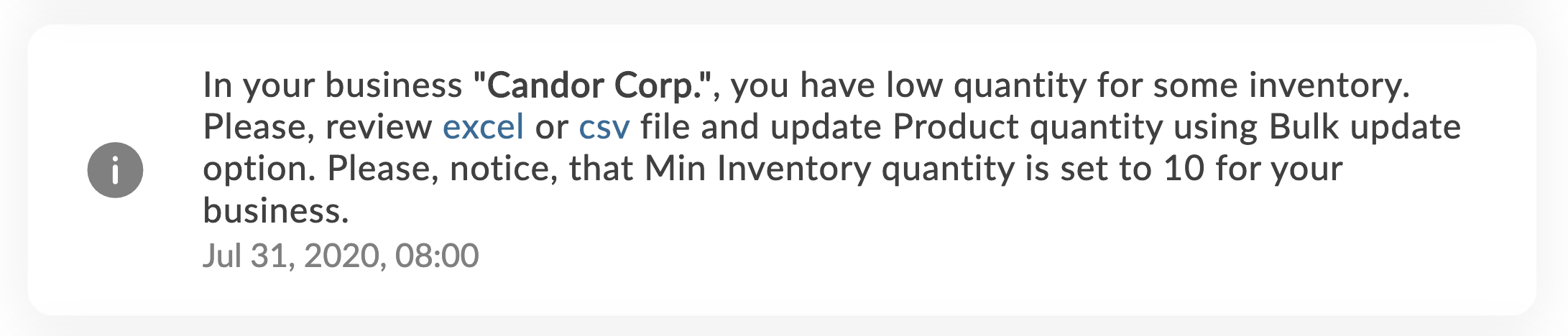 low inventory notification